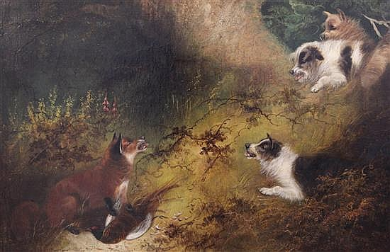 George Armfield (fl.1840-1875) Terriers chasing a fox 19.5 x 29.5in.