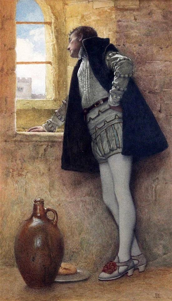 Sir James Dromgole Linton (1840-1916) Nigel in the Tower of London from Sir Walter Scotts Fortunes of Nigel 14.5 x 9in.