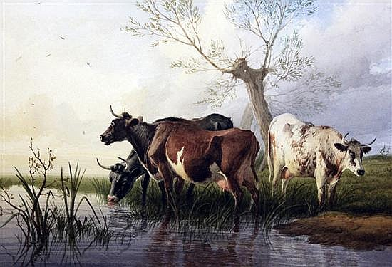 Thomas Sidney Cooper (1803-1902) Cattle and sheep and Cattle watering 10 x 15.5in.