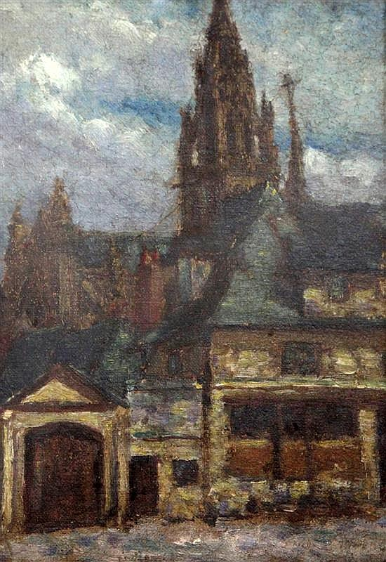 Attributed to Walter Sickert View of a church 9.5 x 6.75in.