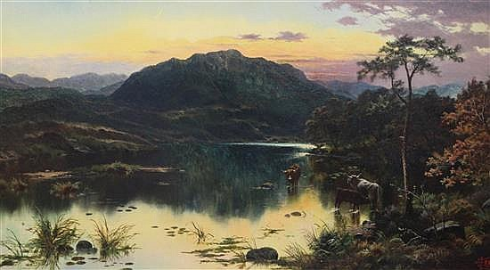 Edgar Longstaffe (1849-1912) Loch scene with cattle watering 18 x 32in.