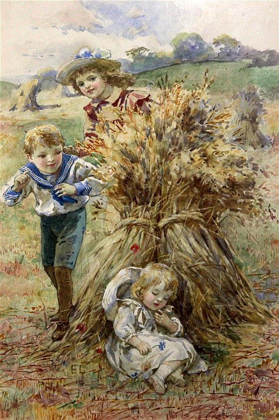 E.L. circa. 1900 Children beside a corn stack 10 x 7in.