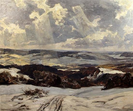 Sir Herbert Hughes Stanton(1870-1937) Winter landscape 40.5 x 50in.