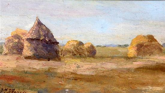 Victor Alfred Paul Vignon (1847-1909) Study of haystacks 6 x 10.5in.