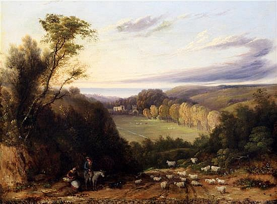 Alfred Walter Williams (1824-1905) Shepherd and flock in an open landscape 16 x 21in.