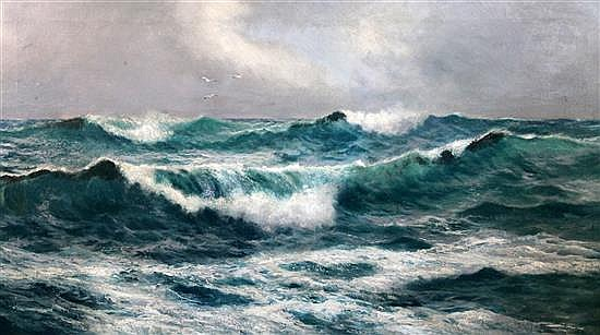 Attributed to David James (1853-1904) Seascape 24 x 42in.