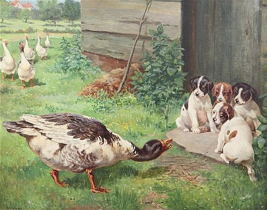 George Derville Rowlandson (1861-1928) Geese and puppies 17 x 21.5in.