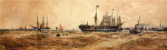 Thomas Bush Hardy (1842-1897) Towing a derelict into Boulogne 9 x 27.5in.