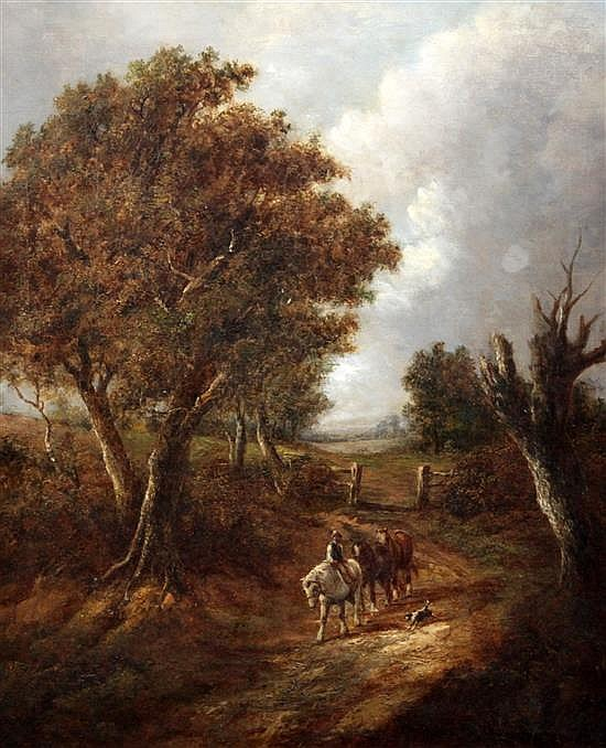 Joseph Thors (fl.1863-1900) Horses on a lane 24 x 20in.