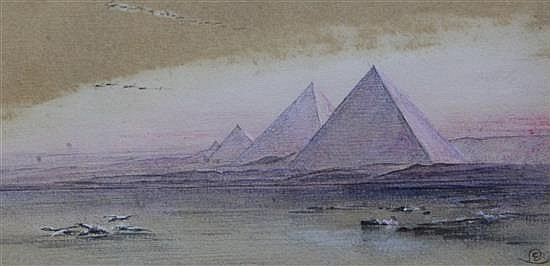 Attributed to Edward Lear (1812-1888) 'Pyramids of Giza' 4 x 8in.