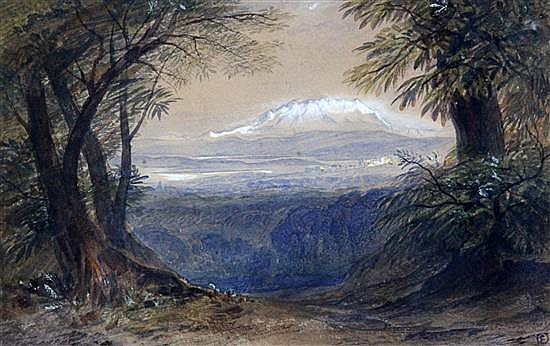 Attributed to Edward Lear (1812-1888) View of snow-capped mountains 6.5 x 10.25in.