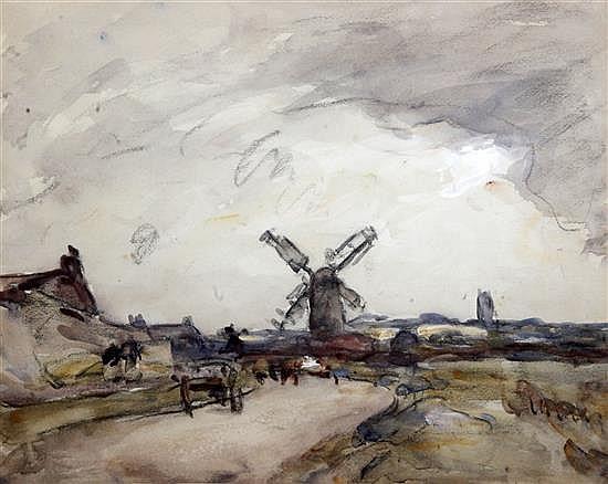 Fred Mayor (1865-1916) Norfolk landscape 15.5 x 19in.
