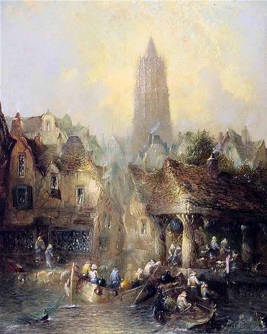 19th century Dutch School View of Delft, 21.5 x 17.5in.