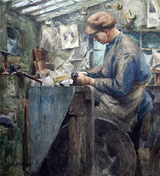Albert George Stevens (1863-1925) The Jet Worker 9 x 8.5in.