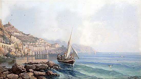 Giancinto Gianni (1837-1895) Naples from the Bay, a fishing boat in the foreground 11.5 x 20.25in.