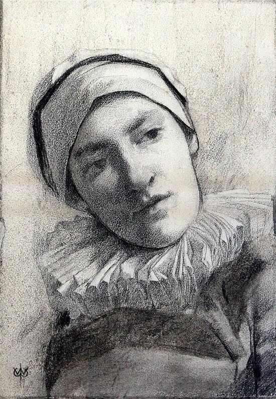 Attributed to William John Wainwright (1855–1931) Study of Pierrot 14.5 x 10.5in.