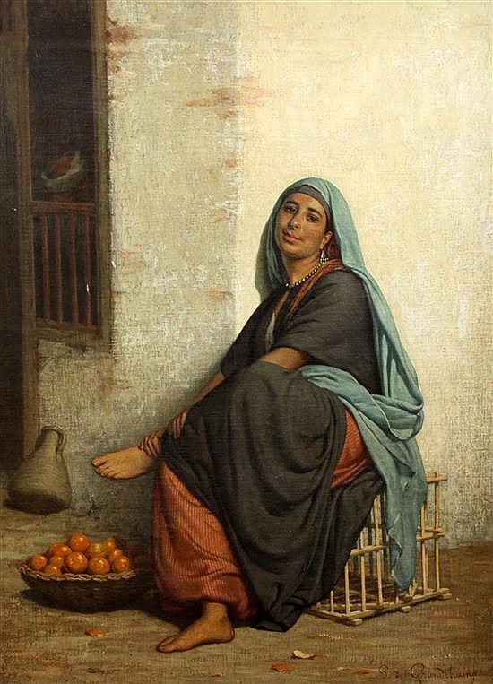 Louis Emile Pinel de Grandchamp (1831-1894) Le Marchand d'oranges, 34 x 25in.