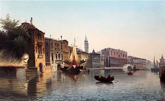 Carl Kauffman a.k.a. Charles Marchand (1843-1901) Doges Palace, Venice, 20 x 31.5in.