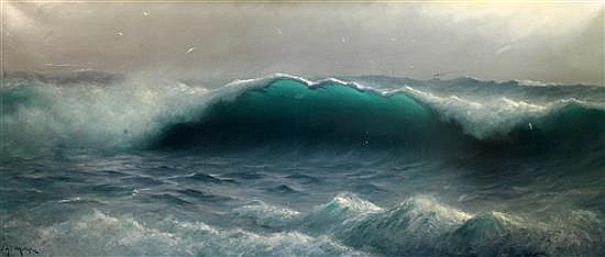 James H C Millar (exh.1884-1903) The Wave off Cornwall 27 x 66in.