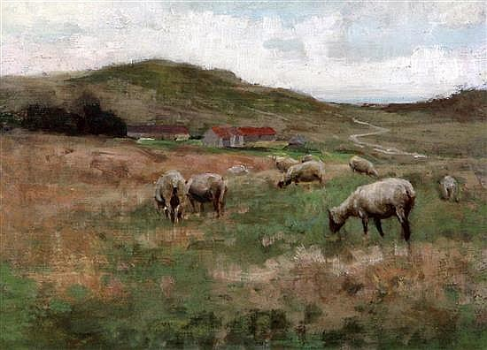 Edward Stott (1859-1918) Sheep in pasture 9.5 x 12.5in.