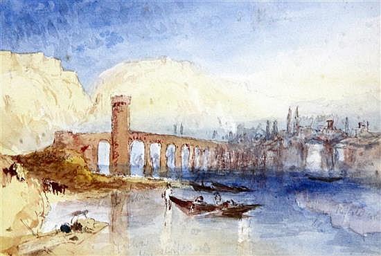 Hercules Brabazon Brabazon (1821-1906) Bridge at Coblinz 4.75 x 7in.