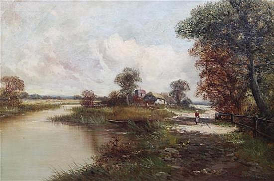 Henry H. Parker (1858-1930) Thatched cottage, River Severn near Worcester 20 x 30in.