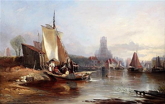 Thomas Sewell Robins (1810-1870) Continental estuary scene 15 x 23.5in.
