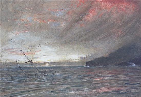 Albert Goodwin (1845-1932) Sunset off the Devon coast 9.5 x 13.75in.