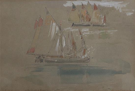 Albert Goodwin (1845-1932) Sketch of Venetian boats 6 x 9in.