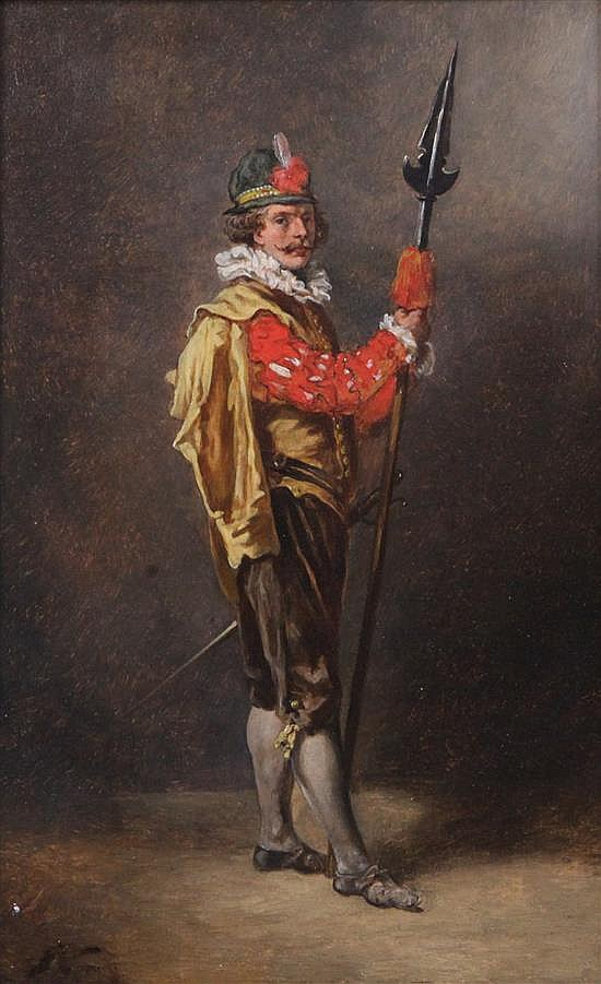 19th century Continental School Study of a 17th century guardsman 10.5 x 6.5in.