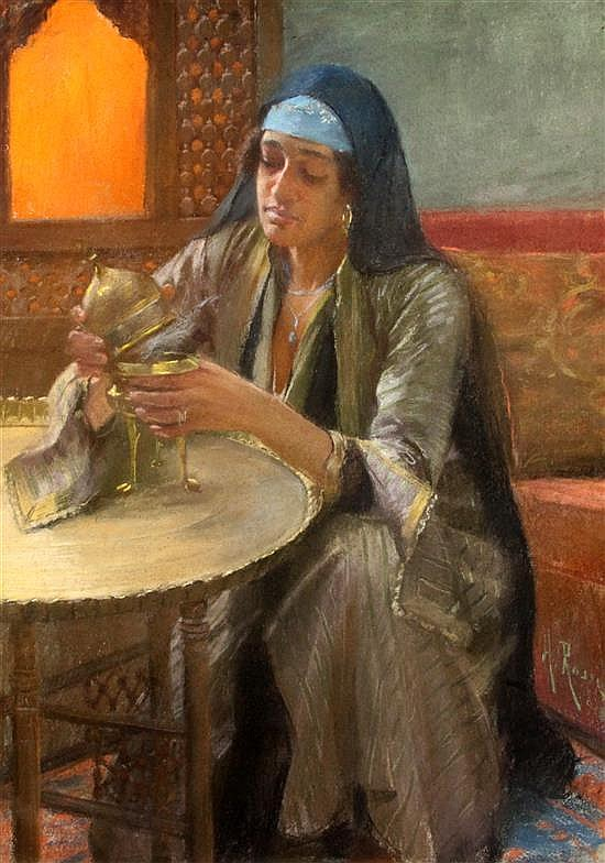 Alberto Rossi (1858-1936) Orientalist scene with Egyptian woman lighting an incense burner 39 x 27.5in. Cairo frame