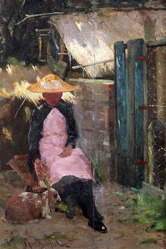 James Coutts Michie (1859-1919) Seated woman beside a rabbit hutch 10 x 7in.