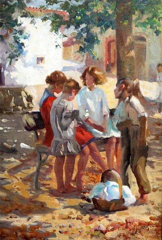 Spanish School Children in a town square 22 x 15in.