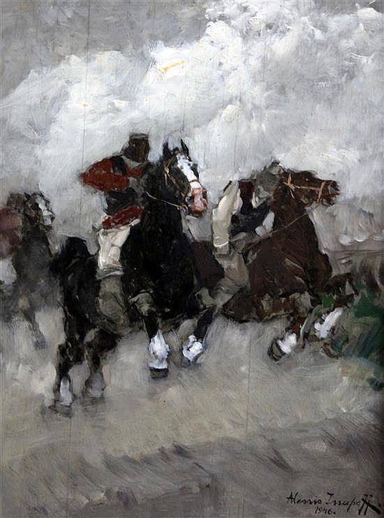 Alessio Issupov (1894-1957) La Gara (The Race) 19 x 14.5in.