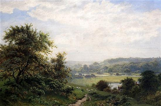 Robert Angelo Kittermaster Marshall (1849-1926) View across a valley 13.5 x 20.5in.