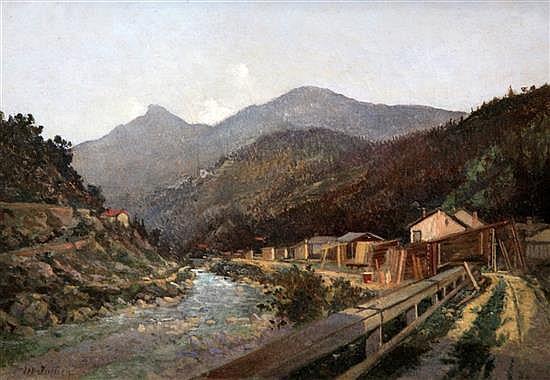 Australian Colonial School; M. Jullien (c.1900) Gold mine workings, 9.5 x 13.5in.