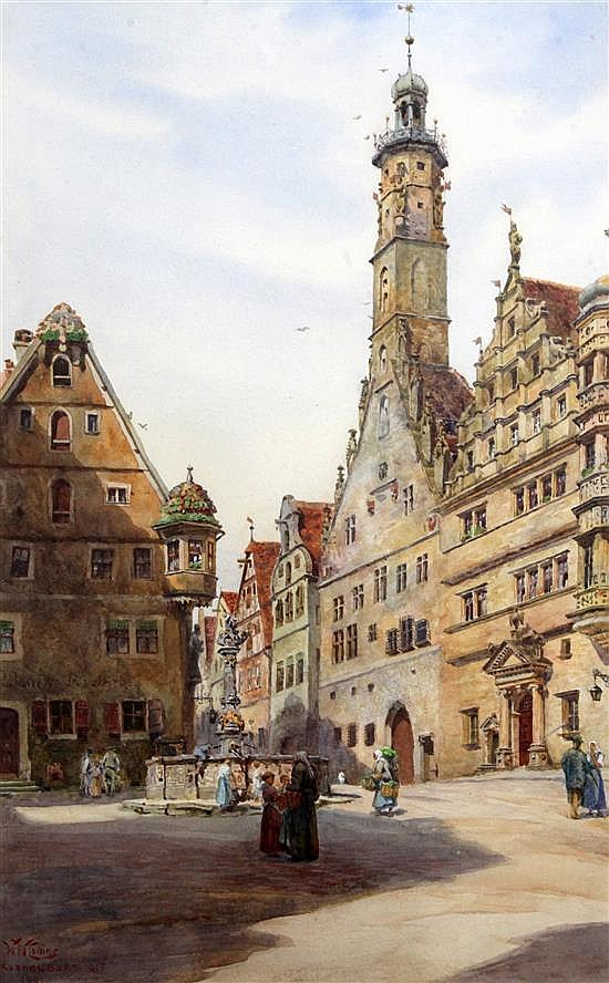 William Wiehe Collins (1862-1951) The Rathus, Rothenburg 20 x 13in.