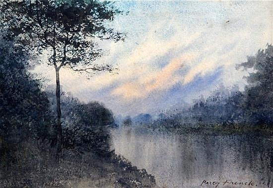 Percy French (Irish, 1854-1921) River landscape 7x 10in.