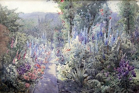Attributed to Beatrice Parsons Herbaceous borders in a garden 9 x 13.5in.