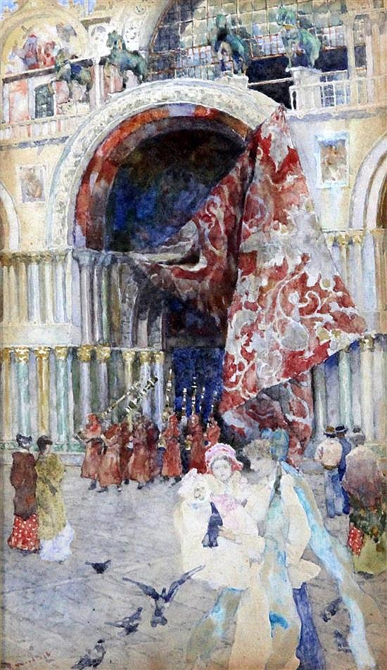David Woodlock (1842-1929) Procession leaving St Mark's, Venice 9 x 5.25in.