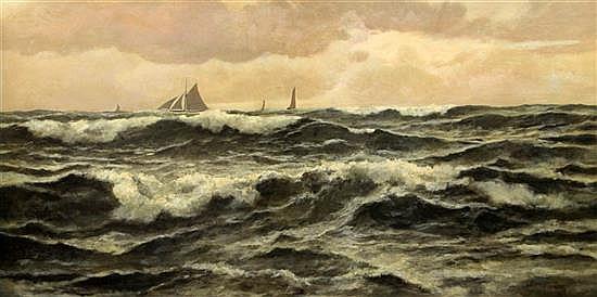John Fraser (1858-1927) Off Folkestone 26 x 50in.