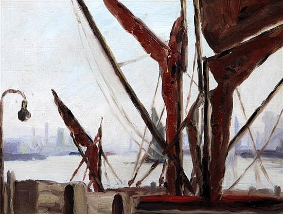 Paul Fordyce Maitland (1863-1909) Barges of Limehouse Reach 9.25 x 12.25in.