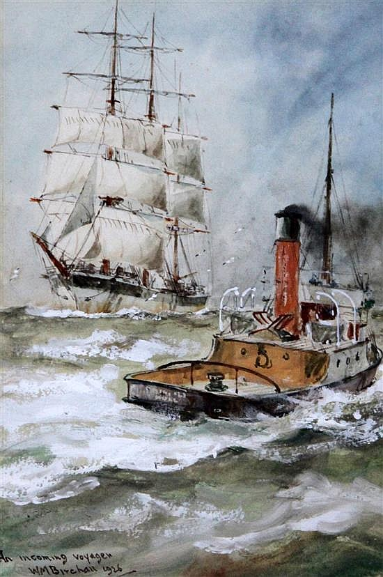 William Minshall Birchall (1884-1941) An Incoming Voyager, A North Sea Voyager, A British Merchantman and A North Sea Drifter 7 x 5in.