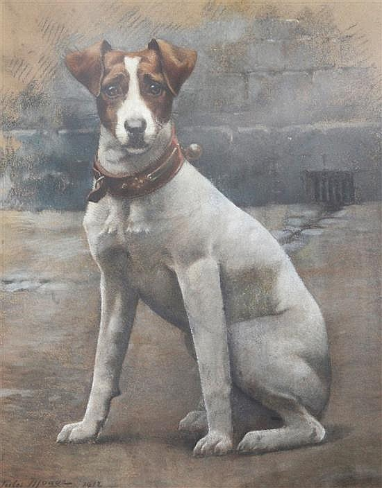 Jules Monge (French, 1855-1934) Portrait of a Jack Russell terrier 21.5 x 17in.