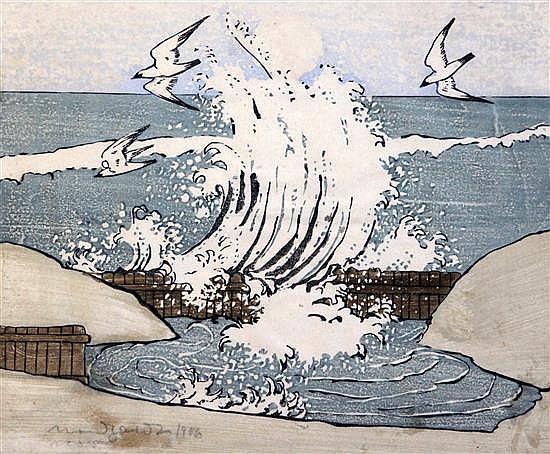 Bror Julius Olsson Nordfeldt (1878-1955) The Wave, Moonrise, 9.5 x 11.25in.