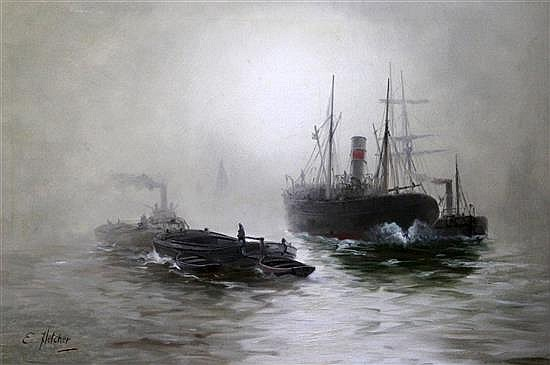 Edwin Fletcher (1857-1945) Merchantmen in the mist 20 x 29in.