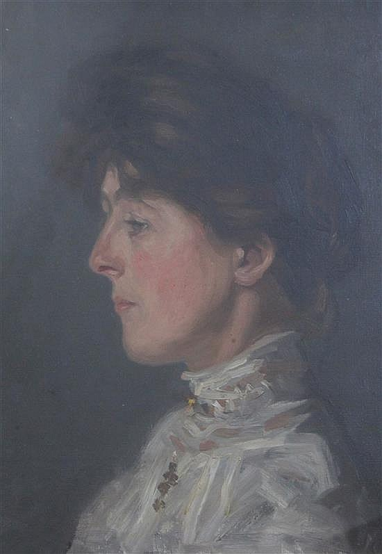 Early 20th century English School Portrait of a lady 16 x 12in.