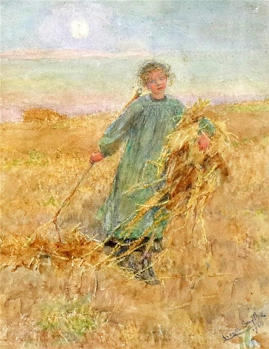 Lionel Percy Smythe (1839-1918) Harvester in a cornfield 8.5 x 6.5in.