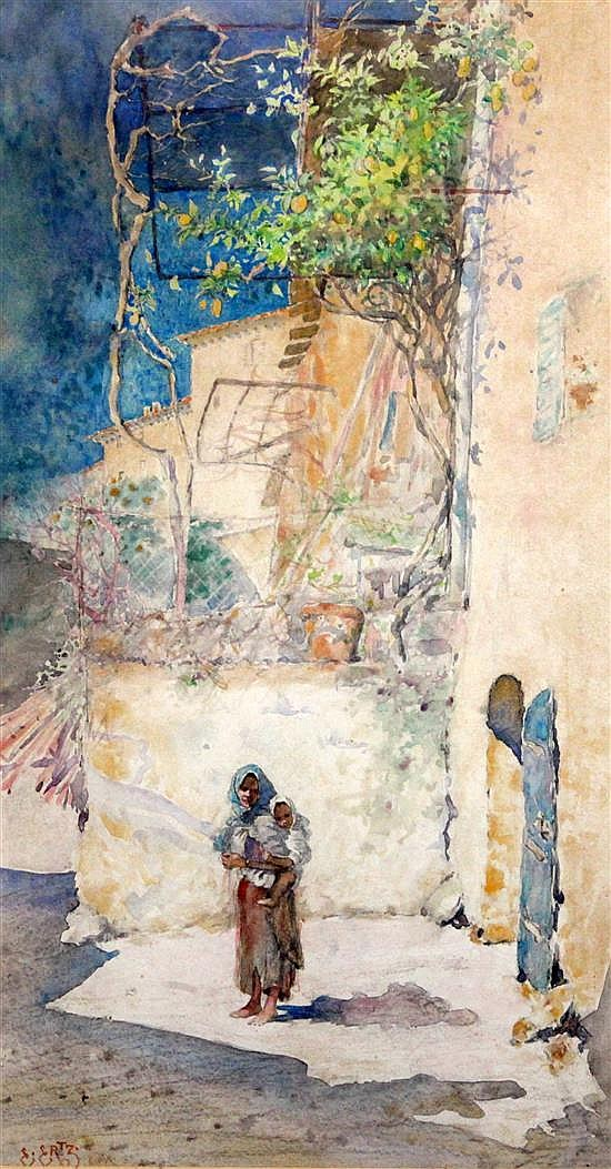 Edward Ertz (1862-1954) Mother and child beside a house 17.5 x 10in.