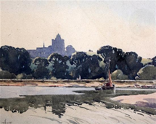 William Hyams (1878-1952) View of Lancing College 14.5 x 19in.